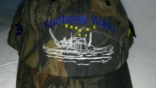 Mossy Oak Camo Cap/Hat Northstar Alaska-Crane Barge-US & AK State Flags-BP Logos