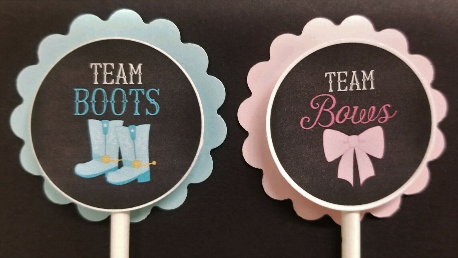 Boots or Bows Gender Reveal Cupcake Toppers Set of 24