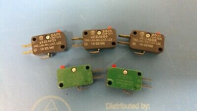 5 Pcs - New Micro Switch V3-1142-d8 Spdt On - On Pin Plunger Snap Action 10a