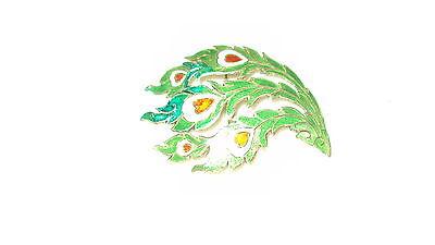 Vintage Siam Sterling Silver Enamel HEART VINES GREEN RED WHITE