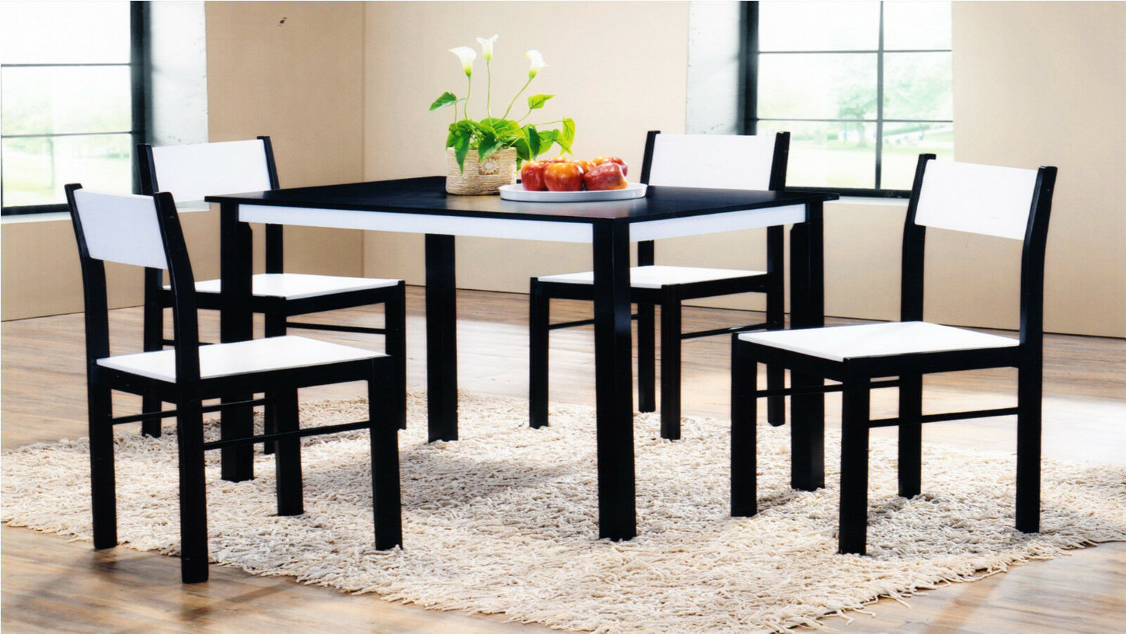 Bnew quality wooden dining table and 4 chairs set kitchen for Quality wood dining tables