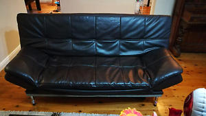 Black Faux Leather Futon Windsor Hawkesbury Area Preview