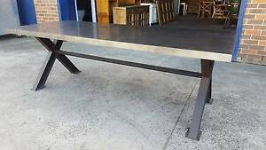 NEW INDUSTRIAL RECYCLED VINTAGE TIMBER ZINC STEEL DINING TABLE Chipping Norton Liverpool Area Preview