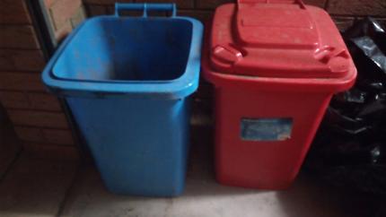 Red and blue storage bins