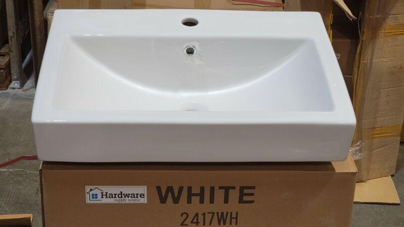 "24"" Wall Mount Self Rimming White Rectangle  Bathroom Sink Single Hole"