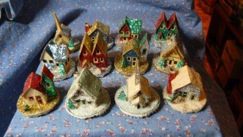 Set 12 Vintage Putz Mica Glitter Christmas Village Houses Buildngs  Round Bases