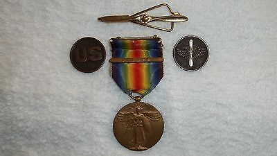 WW1 MEDAL AND ARMY AIR SERVICE CORPS COLLAR BRASS(SILVER PROP) SET