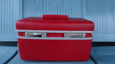 Vintage Retro Red Samsonite Train Travel Case Cosmetic Luggage Small Hard Cute!