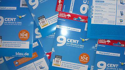 Blau.de Prepaid SIM Karte 10€ Sofortguthaben! Starter Paket NEU & OVP