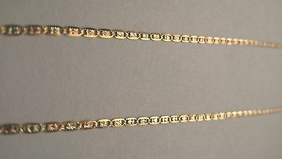 "14K Solid Gold tri color Valentino Chain  necklace 16""  1.3mm 14K GUARANTEED"
