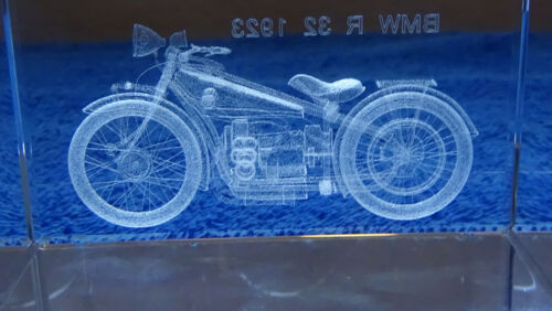 Extraordinary Glass paperweight Hologram of 1923 BMW R-32 in original lined box.