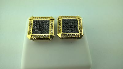 Mens 14K Gold Finish lab Diamond Earrings Stud.Hip Hop, Iced out.  Big Size