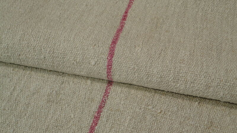Antique GRAIN SACK Feed Sack European Red Stripes #6832
