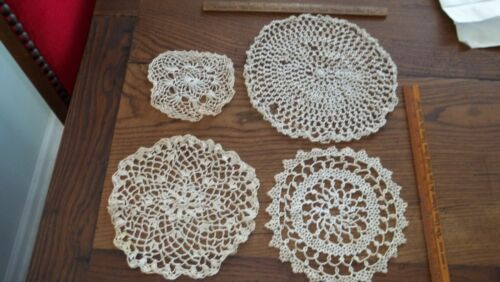 """Lot of 4 Vtg Off White Doily, 2-8"""", 1-5"""", 1-10"""", Crocheted, Beautiful, Doilies!"""