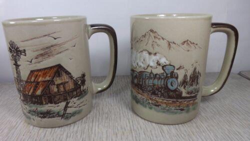 Rare Otagiri 4-4-0 Steam Train Rail & Windmill Cottage Scene Embossed Mugs Japan