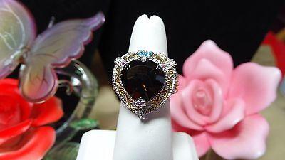 Brazilian Smoky Quartz, Multi Gemstone Ring 14K YG & Platinum Over 925 SS Size covid 19 (14k Yg Multi Gemstone coronavirus)