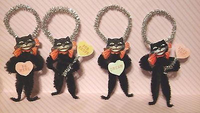 4 Vintage Style Valentine's Devilish Black Cat  w/ Conversation Hearts