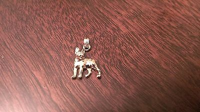 14K YELLOW GOLD POLISHED BOSTON TERRIER DOG CHARM/PENDANT