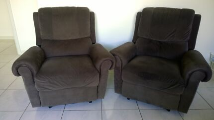 Two Comfy Reclining Lounge Chairs