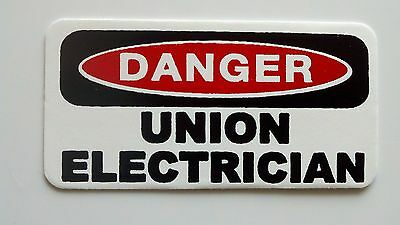 3 - Danger Union Electrician Lunch Hard Hat Oil Field Tool Box Helmet Sticker