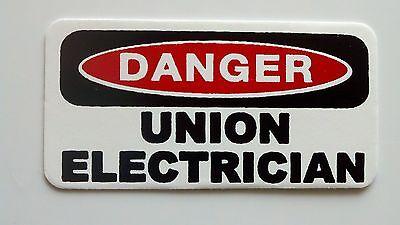 3 - Danger Union Electrician Lunch Hard Hat Oil Field Tool Box Helmet Sticker