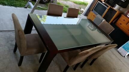 Glass Topped Dining Table and 6 Covered/Padded Chairs Broadmeadow Newcastle Area Preview
