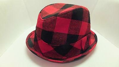 Rivington and Mott New York Fedora Hat Red Black Plaid NEW with Tags - Red And Black Fedora Hat