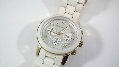Michael Kors Gold & White Silicone Women's Watch Chronograph MK-5145