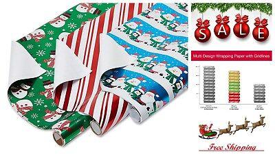 3 Pack Santa Snowmen Foil Christmas Bulk Gift Wrapping Paper Bundle w/ Gridlines