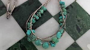 Vintage Liquid Silver Native American Turquoise Nugget Necklace New Lambton Newcastle Area Preview