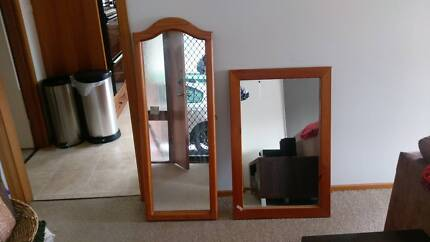 Large square mirror, heavy solid wood $40
