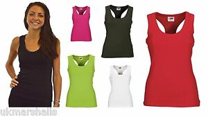 Ladies-Racerback-Vest-Sleeveless-T-Shirt-in-6-Colours-Sizes-6-16-Eurotshirts