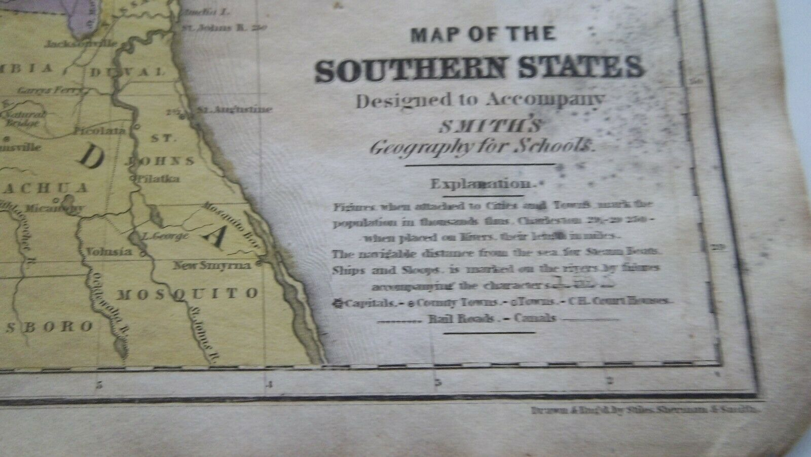 1839 MAP of the SOUTHERN STATES   Geography   Antique Original