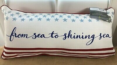 Throw Pillow Indoor Outdoor Patio Threshold Flag Patriotic Scotchgard NWT