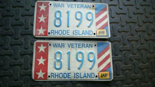 WAR VETERAN LICENSE PLATE STATE OF RHODE ISLAND