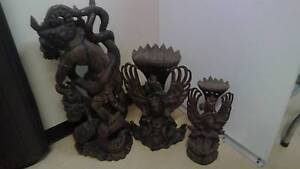 3 Solid wood hand carved Bali figures Woongoolba Gold Coast North Preview