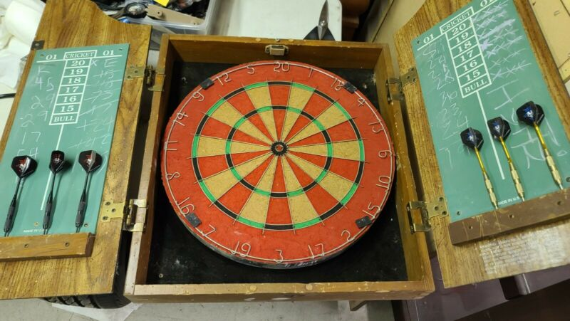 Marlboro country store dartboard with cabinet