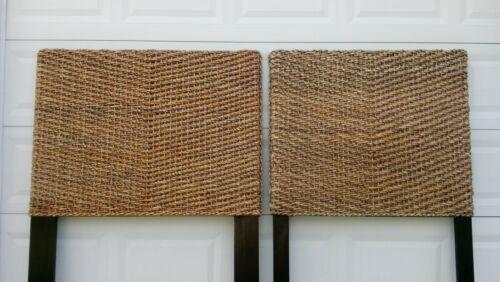 Banana Leaf Pair Twin Size Headboards Seagrass 2 Modern Tropical Coastal Cottage