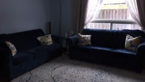 Custom navy blue couches