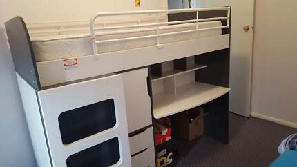 Single Bed Bunk/Desk/Robe/Drawers + Child's Wardrobe and Bookcase