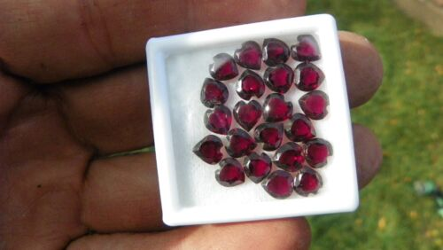 Faceted Garnet  Hearts, 6. MM.  20-22 pcs/container. .