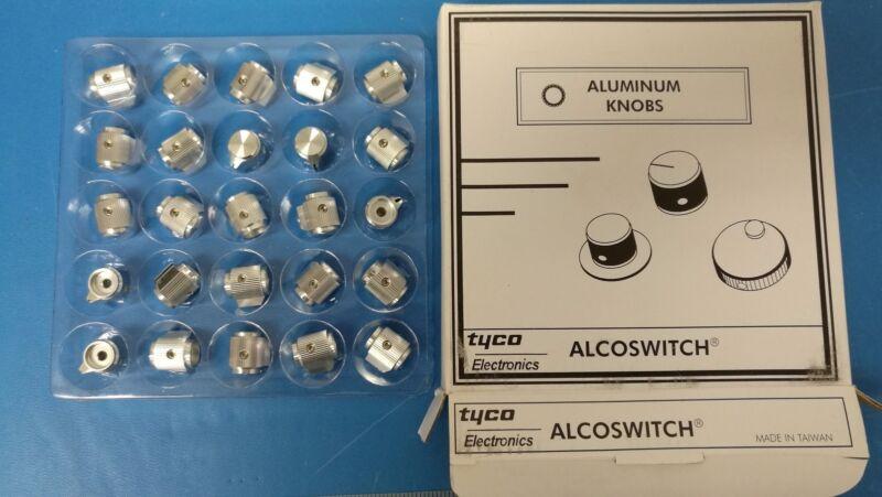 "25  Alcoswitch / Tyco 9-1437622-1 Aluminum Knurled 1/2"" Knobs"