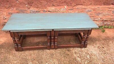 Vintage Long John Nest Of Tables Reprodux / Nest Of Oak Tables