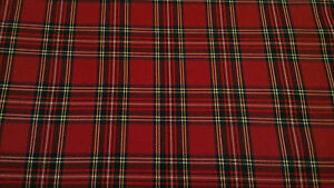 TARTAN-ROYAL-STEWART-POLY-VISCOSE-SCOTTISH-FABRIC-CLOTH-58-WIDE-PER-METRE