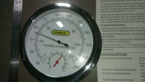 Indoor Analog Thermo-Hygrometer w/ 5 Inch Dial and Stainless Steel Case Hi Temp