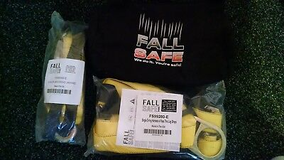 Fall Protection Kit Aerial Safety Body Harness 6 Lanyard Bag- Made In The Usa
