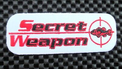 Secret Weapon~Fish Lures Embroidered Patch Bait Rod Angler Tackle 4 1/4