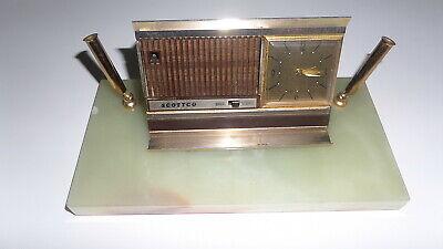 Scottco Desk Set Paper Weight Pen Holder Clock Radio Marble Base