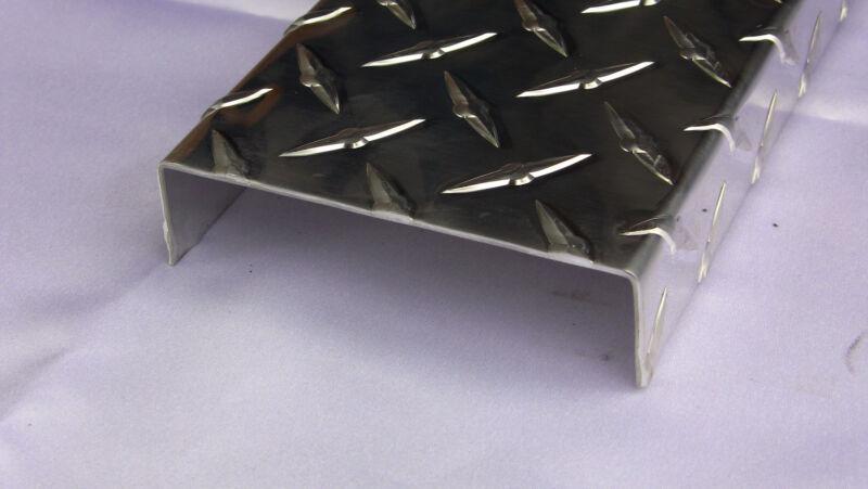 Aluminum Diamond Plate Channel .062 x 1 x 4 x 1 x 48 in. Running Board (2pcs)