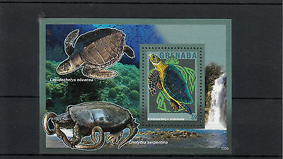 GRENADA 2013 MNH TURTLES 1V S/S REPTILES NATURE HAWKSBILL SEA TURTLE SNAPPING